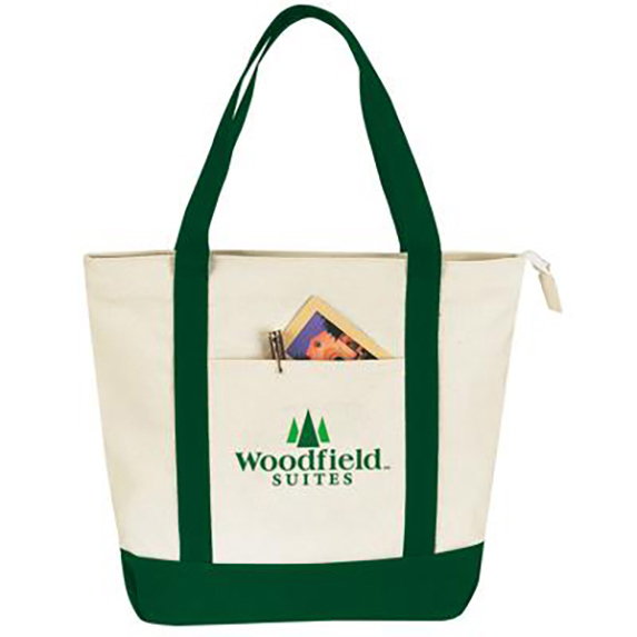 Two-Tone Canvas Zippered Tote - Bags