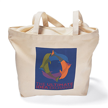 Zippered Top 12 oz. Natural Canvas Tote - Bags