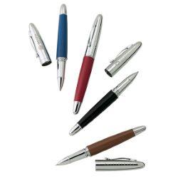 Leather Barrel Rollerball Pen