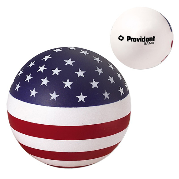 Round Stress Ball with U.S. Flag Design - Puzzles, Toys & Games