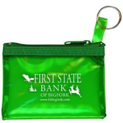 Zippered Translucent Pouch with Key Ring