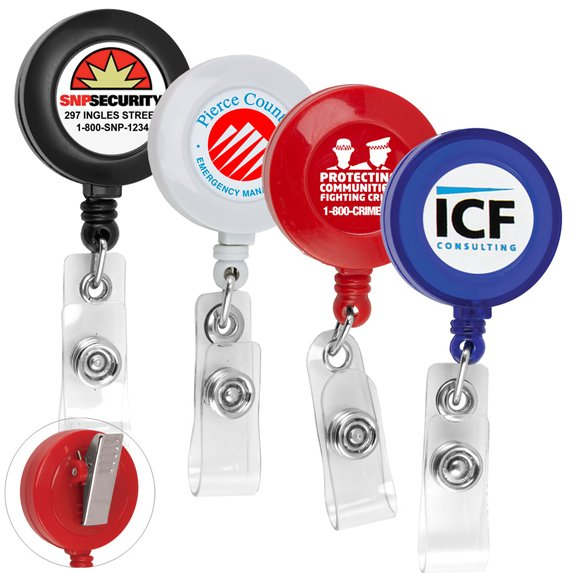 """30"""" Retractable Badge Reel with Adjustable Alligator Clip - Meetings & Events"""