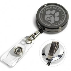 30 Gunmetal Retractable ID Badge Reels w/ Metal Slip Clip