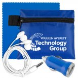 Tech Accessory and Earbud Set with Microfiber Cloth and Car Charger