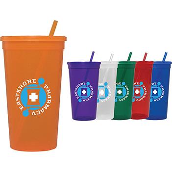 Sapphire Tumbler w/ Lid & Straw - 32 oz. - Mugs Drinkware