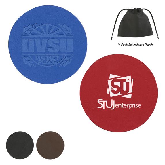 Set of 4 - Leather Coaster Set - Mugs Drinkware