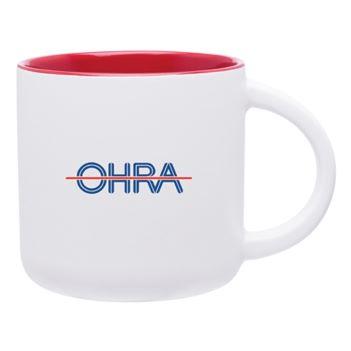 14 Oz. White Linolo Mug - Mugs Drinkware