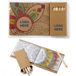 Adult Coloring Book & Pencils Set