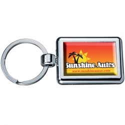 Rectangle Two Sided Chrome Plated Domed Keytags