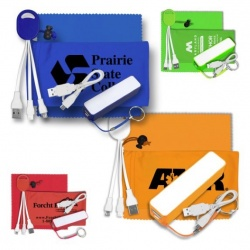 Tech Kit with Cables, Power Bank and Microfiber Cloth