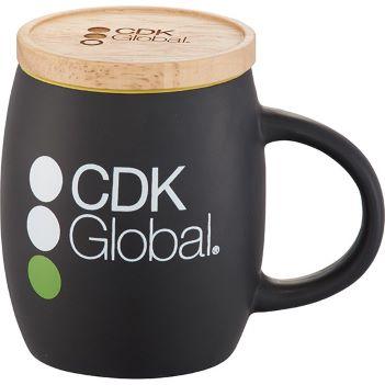 Hearth Ceramic Mug with Wood Lid/Coaster 14oz - Mugs Drinkware