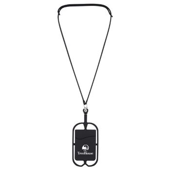Silicone Lanyard with Phone Holder/Wallet - Technology