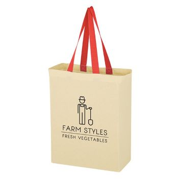 Natural 5 oz. Cotton Canvas Grocery Tote - Bags