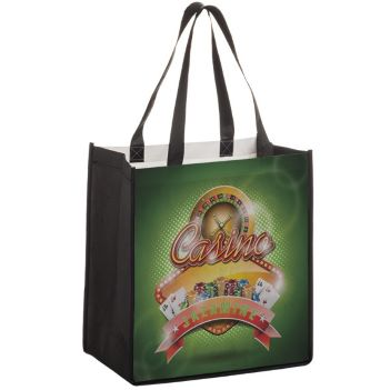 "12"" x 8"" x 13"" P.E.T. Non-Woven Full Color Grocery Bag - Bags"