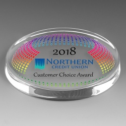 Oval Glass Award Paperweight