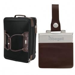 Terni Brown Leather/Black Twill Nylon Trolley Bag