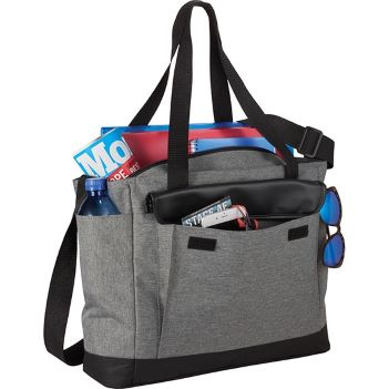 Professional Heathered Tote with Vinyl Accent - Bags