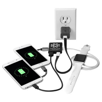"""""""Zion"""" 3 Port Mini USB Hub with Multiple Attachment Cell Phone Charging Cable - Technology"""