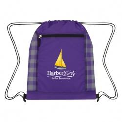 Checkered Mesh Accent Drawstring Bag