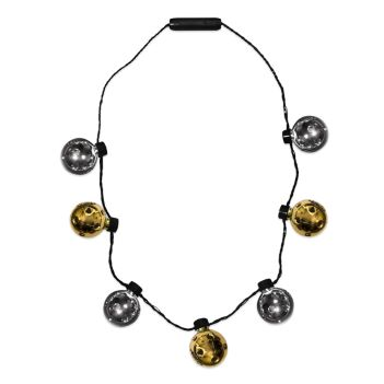 LED Gold & Silver Disco Ball Necklace - Puzzles, Toys & Games
