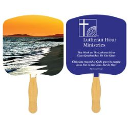 Religious Sandwich Hand Fan with Spot Color on Second Side