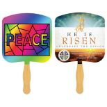 Religious Sandwich Hand Fan with Full Color on Second Side