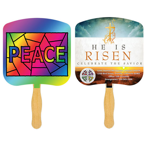 Religious Sandwich Hand Fan with Full Color on Second Side - Travel Accessories & Luggage