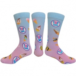Flat Knit Dress Sock with DTG Printing