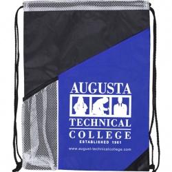 Drawstring Backpack with Large Zipper Pocket and Mesh Side Pocket