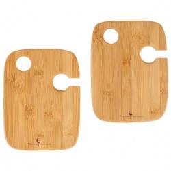 Bamboo 2-piece Wine Plate Set