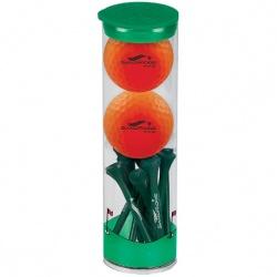 2 Ball Tube with Volvik Vivid Golf Balls and Tees