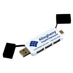 3 Port Mini USB Hub with Type C Adapter