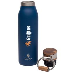 Manna Ascend 18 oz. Stainless Steel Water Bottle with Acacia Lid