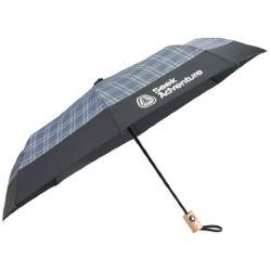 42 Recycled PET Auto Open Plaid Folding Umbrella