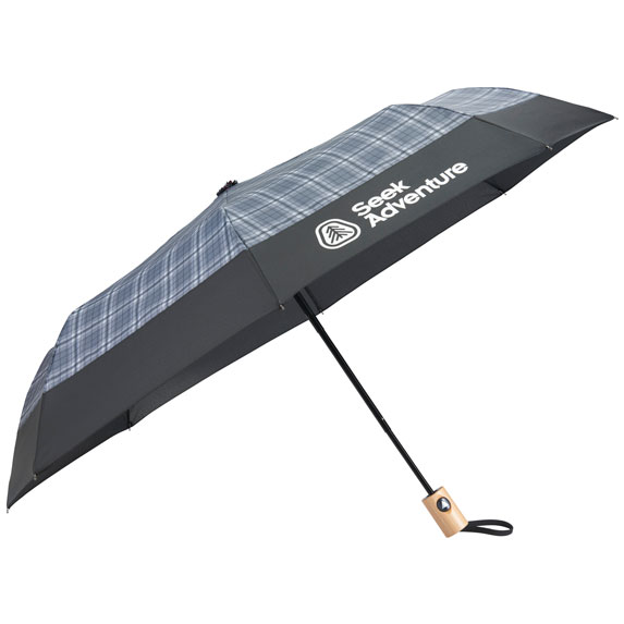 """42"""" Recycled PET Auto Open Plaid Folding Umbrella - Outdoor Sports Survival"""