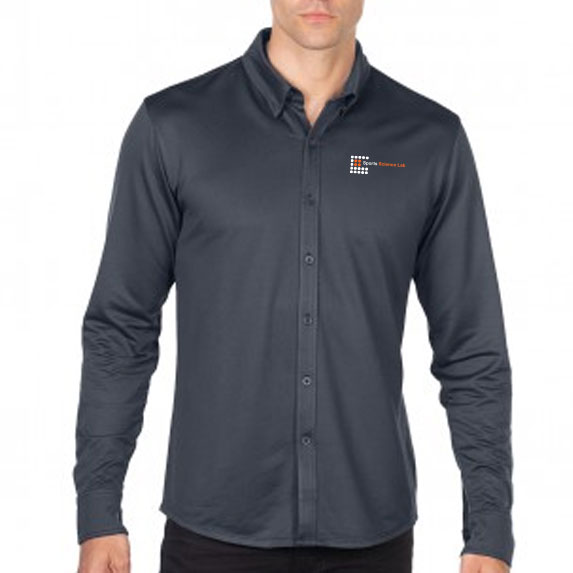 Men's Knit Jacquard Button-Down Shirt - Apparel