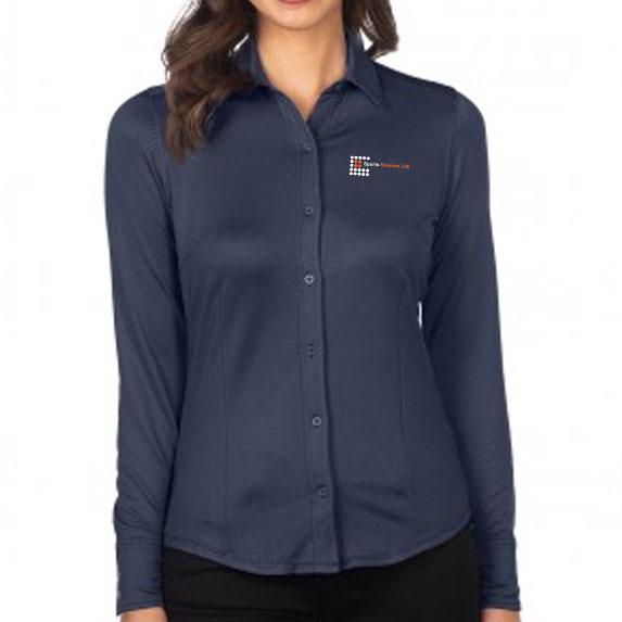 Women's Knit Jacquard Button-Down Shirt - Apparel
