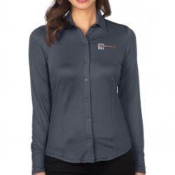 Women's Knit Jacquard Button-Down Shirt