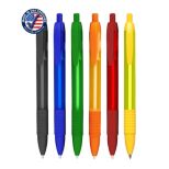 Frosted Click Wide Barrel Pen with Solid Colored Rubber Grip
