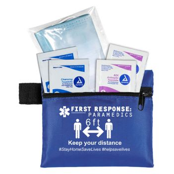 3-Ply Masks and Antiseptic Wipes in Zippered Pouch - Health Care & Safety Fitness Products