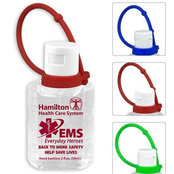 2 oz. Hand Sanitizer with Silicone Carry Leash - Health Care & Safety Fitness Products
