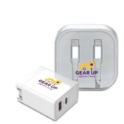 Fast Charging Wall Adapter and USB-C to Lightning Cable Gift Set