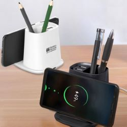 All-Purpose Wireless Charger Pen Holder with Dual USB Output Ports