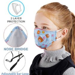 2-Layer Kids Face Mask with Full Color Logo
