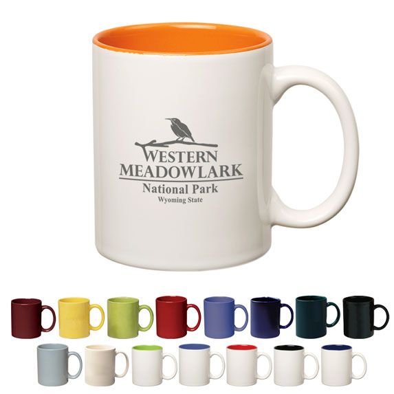 11 oz. Colored Stoneware Mug with C-Handle - Mugs Drinkware